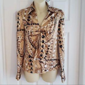 Trina Turk Los Angeles Silk tie front blouse